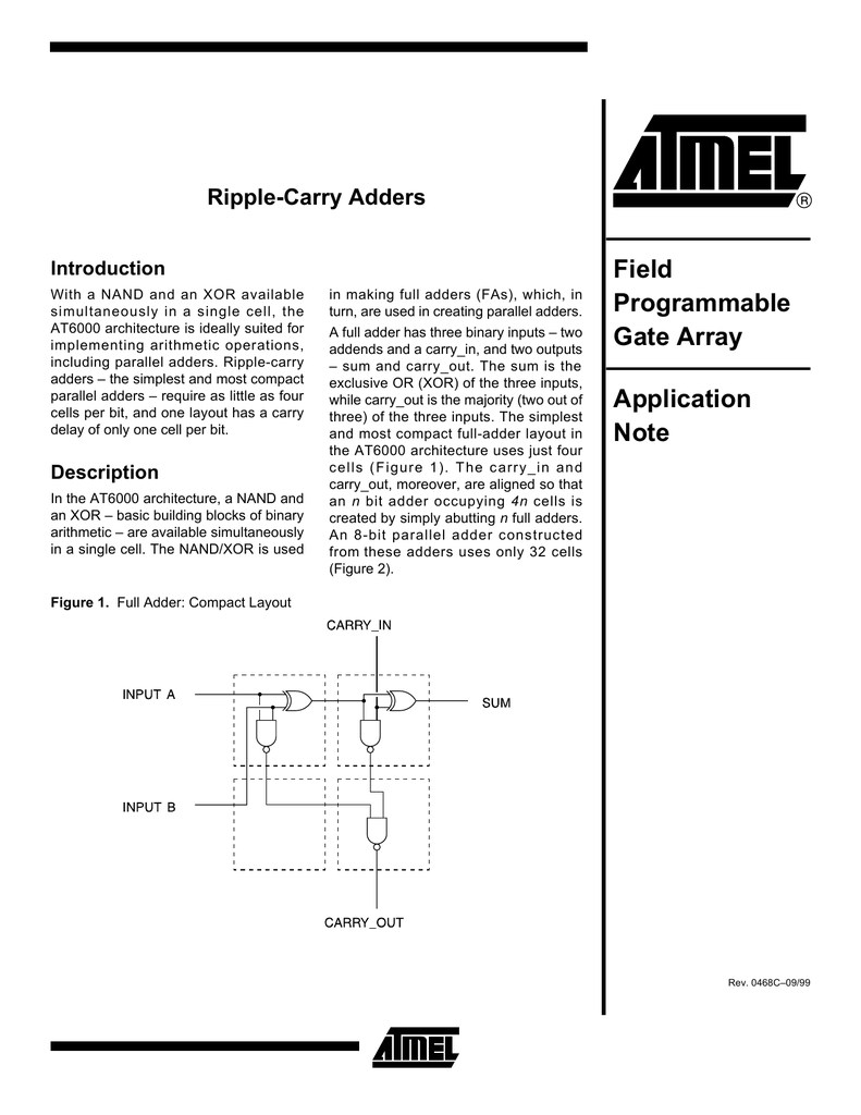 Ripple Carry Adders Application Note Binary Adder And Addition Using Exor Gates