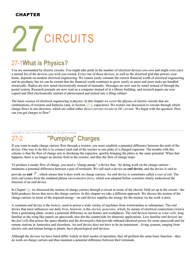 Chapter 27 Circuits 1what Is Physics You Are Surrounded By Electric Might Take Pride In The Number Of Electrical Devices Own And