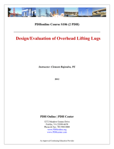 Design/Evaluation of Overhead Lifting Lugs