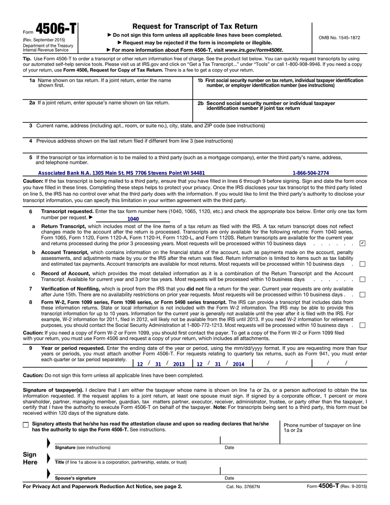 Form 4506-T (Rev. September 2015)