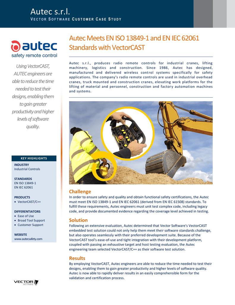 Autec Meets EN ISO 13849-1 and EN IEC 62061 Standards with