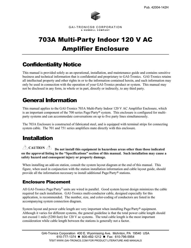 703A Multi-Party Indoor 120 V AC Amplifier Enclosure - GAI