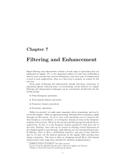 Chapter 7: Filtering and Enhancement