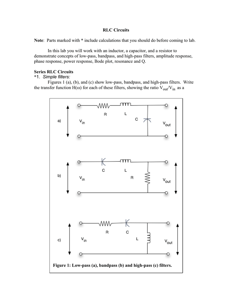 RLC Circuits Note: Parts marked with * include calculations that you