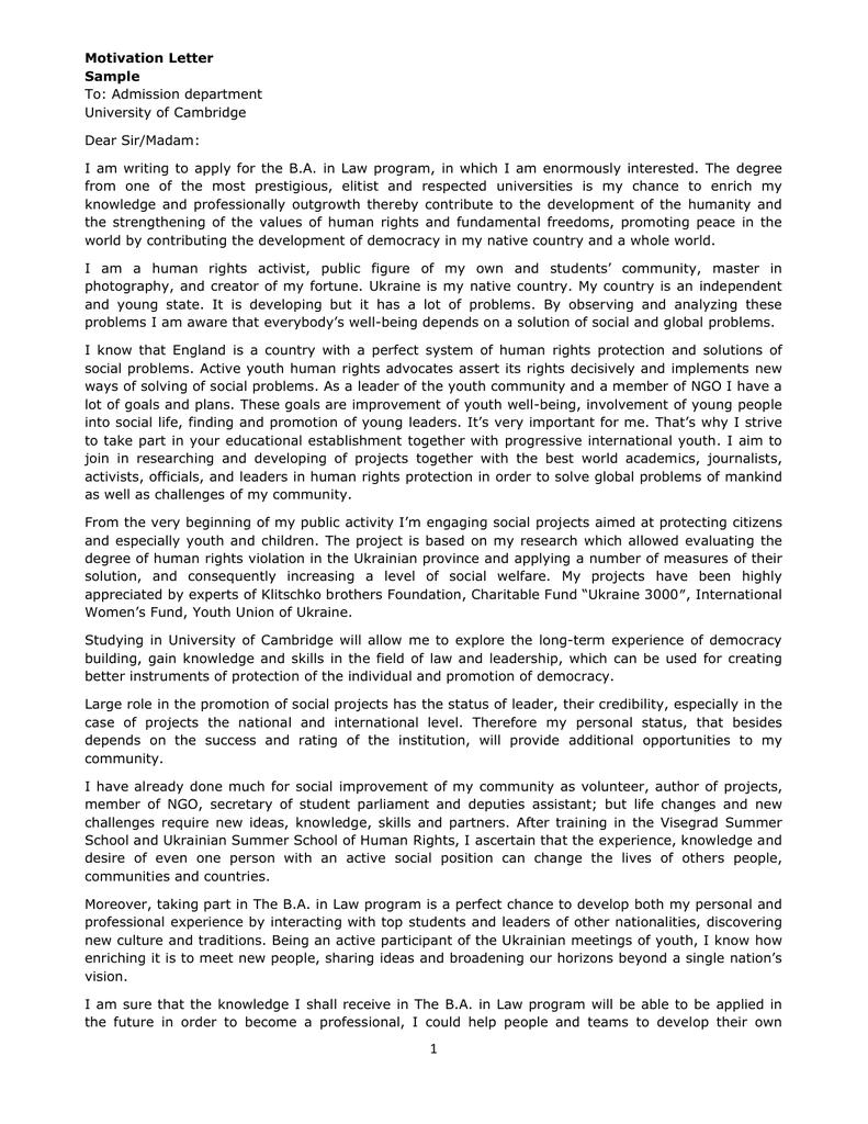 Motivation letter sample to admission department university of spiritdancerdesigns Images