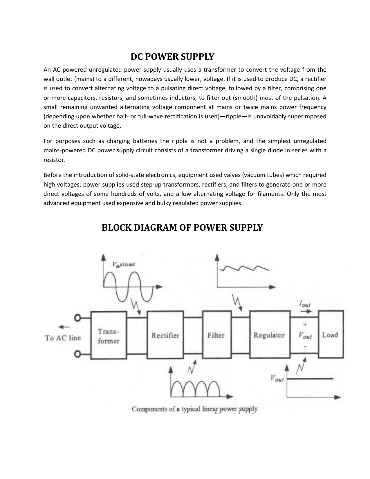 DC POWER SUPPLY BLOCK DIAGRAM OF POWER SUPPLYStudylib