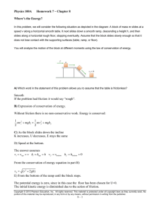 Physics 100A Homework 7 – Chapter 8 Where`s the Energy