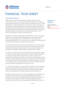 Financial Tear Sheet - Allison Transmission | Investors