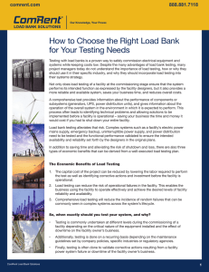 How to Choose the Right Load Bank for Your Testing