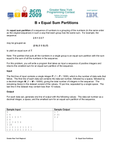 Equal Sum Partitions - ACM ICPC Greater New York Region Contest