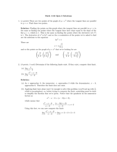 Math 1142 Quiz 2 Solutions 1. (4 points) There are two points of the