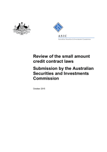 ASIC submission to Review of small amount credit contract laws