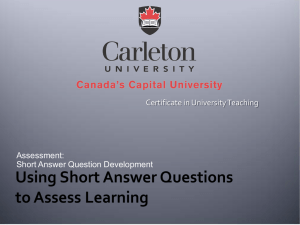 Assessment: Short Answer Question Development Certificate in