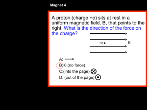 A proton (charge +e) sits at rest in a uniform magnetic field, B, that