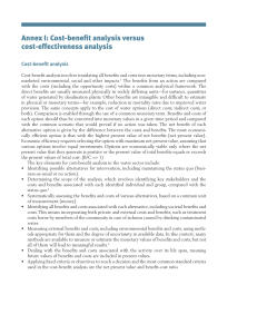 Annex I: Cost-benefit analysis versus cost-effectiveness