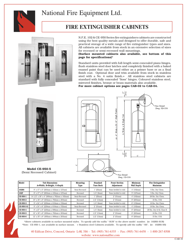 R CE CE Extg Cabs - Semi recessed fire extinguisher cabinet