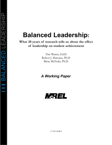 Balanced Leadership: What 30 years of research tells us about the