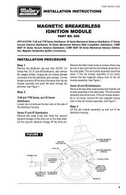 mallory unilite distributor installation instructions mallory 609 ignition control module installation instructions