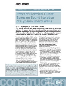 Effect of Electrical Outlet Boxes on Sound Isolation of Gypsum Board