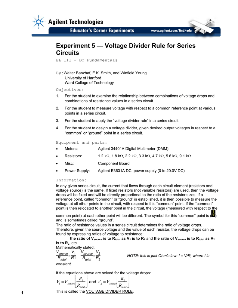 Voltage Divider Rule For Series Circuits What Is A Circuit