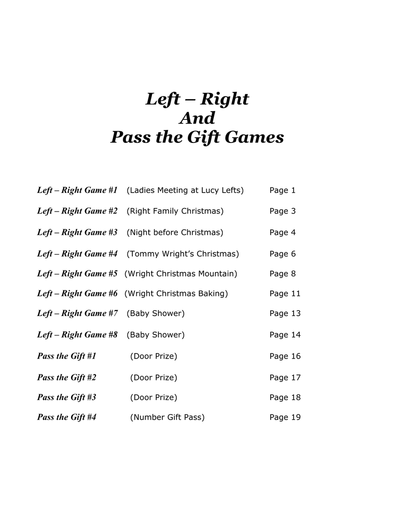 Christmas Gift Exchange Poem.Left Right And Pass The Gift Games