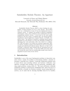 Satisfiability Modulo Theories: An Appetizer