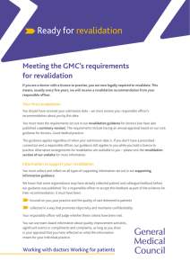 Revalidation: Meeting the GMC`s requirements for revalidation