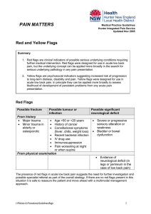 red and yellow flags in persistent pain