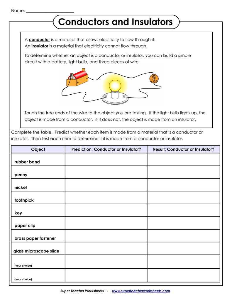 Conductors and Insulators Super Teacher Worksheets