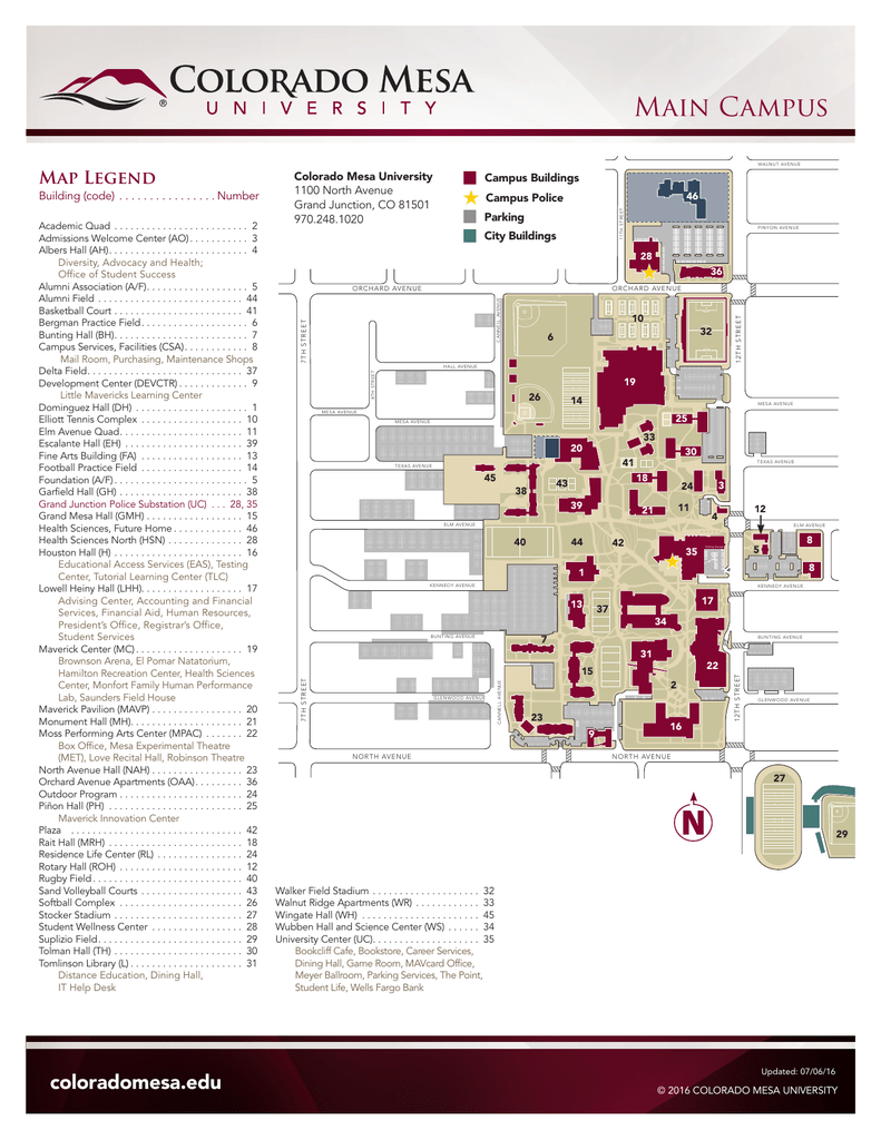 Colorado Mesa University Map Main Campus   Colorado Mesa University