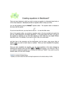 Creating equations in Blackboard - it