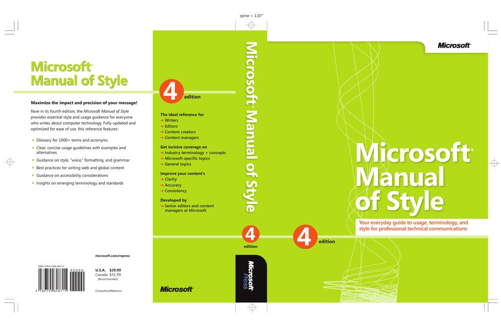 Microsoft Manual of Style, Fourth Edition eBook