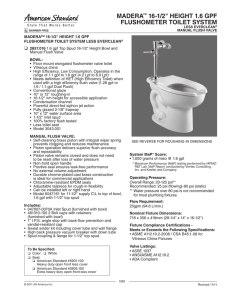 "MADERA™ 16-1/2"" HEIGHT 1.6 GPF FLUSHOMETER TOILET"