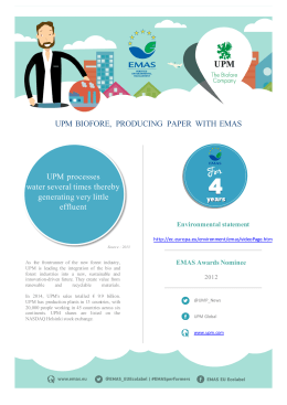 UPM processes water several times thereby generating