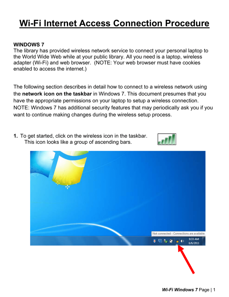 Wi-Fi Internet Access Connection Procedure