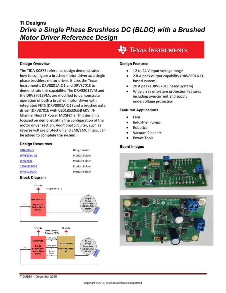 Drive A Single Phase Brushless Dc Bldc With Bridge Motor Control Power Mosfets