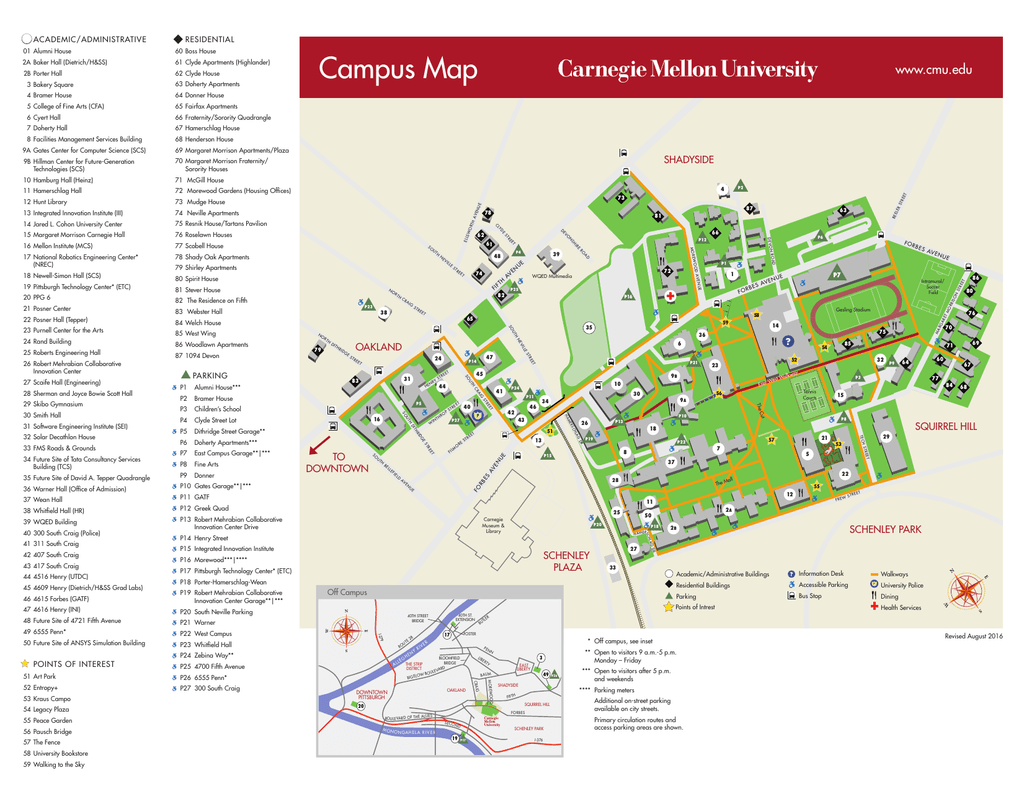 Campus Map Carnegie Mellon University