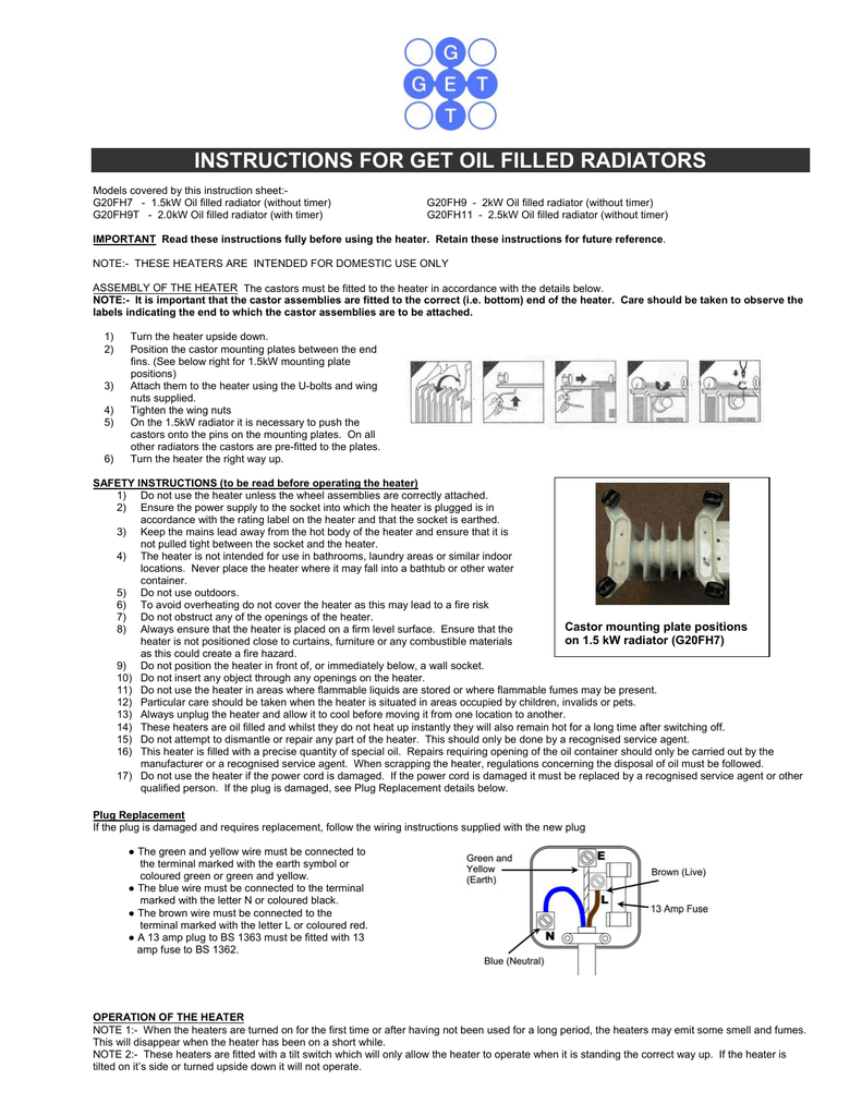 Instructions For Get Oil Filled Radiators