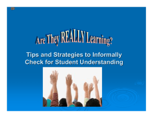 Tips and Strategies to Check for Student Understanding