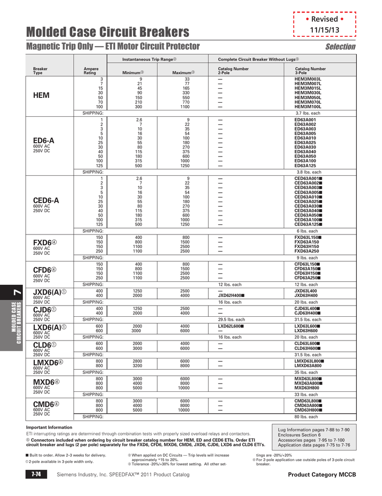 SIEMENS ED63A125 3 Pole 125 Amp ED6 ETI Motor Circuit Interrupter