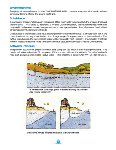 Overwithdrawal Subsidence Saltwater intrusion