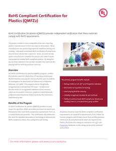 RoHS Compliant Certification for Plastics (QMFZ2) - Industries