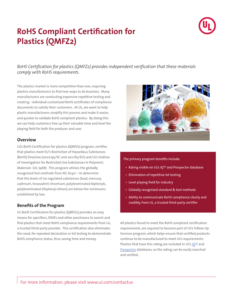 Rohs compliant certification for plastics qmfz2 industries 1betcityfo Choice Image