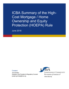 ICBA Summary of the High- Cost Mortgage / Home Ownership and