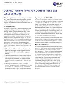 correction factors for combustible gas (lel) sensors