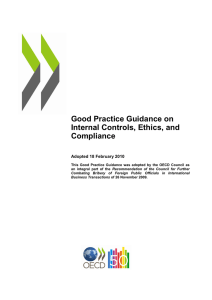 Good Practice Guidance on Internal Controls, Ethics, and