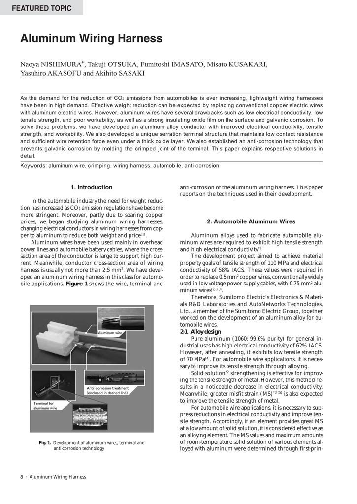 aluminum wiring harness rh studylib net Ford Wiring Harness Kits development of aluminum wiring harness