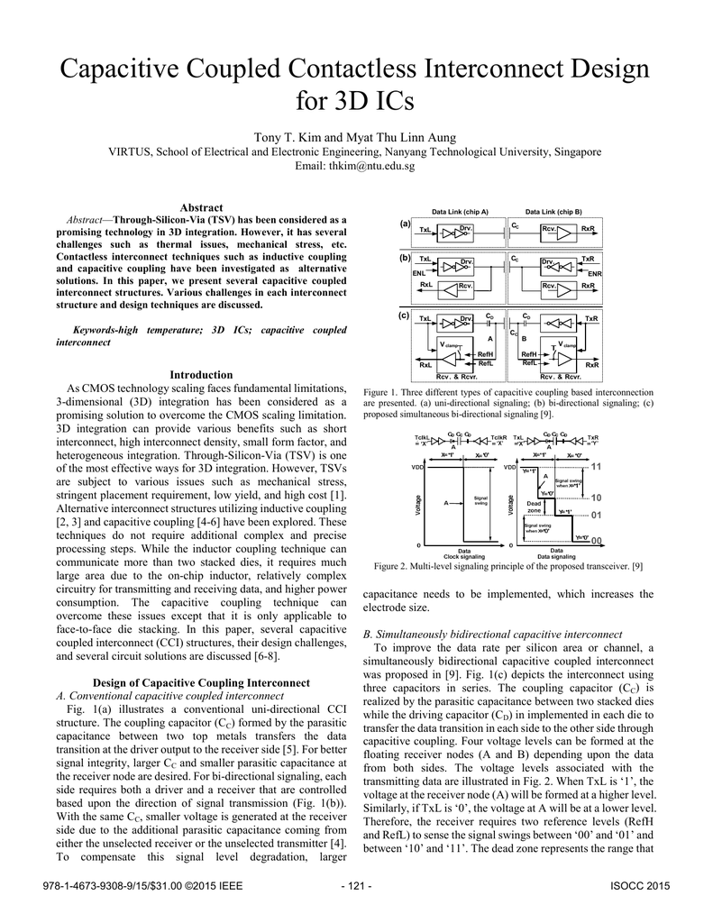 Capacitive Coupled Contactless Interconnect Design for 3D ICs