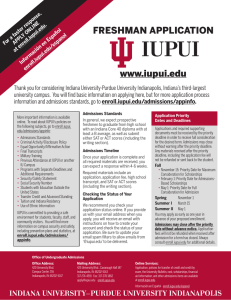 FRESHMAN APPLICATION www.iupui.edu