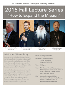 2015 Fall Lecture Series - St. Tikhon`s Orthodox Theological Seminary